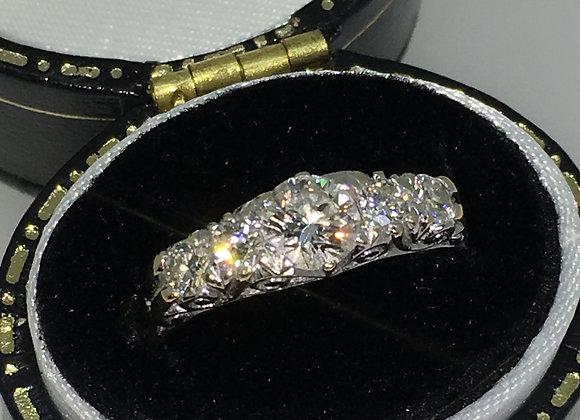 Five-Stone Diamond Ring in 18ct White & Yellow Gold