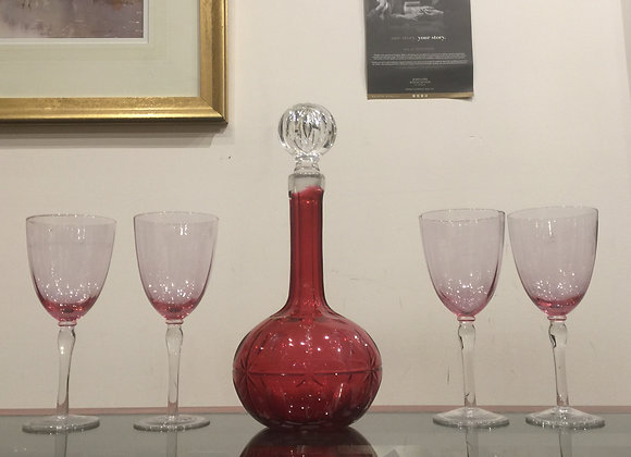 Antique (Victorian) Ruby Glass Decanter & Goblets