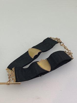 9K Rose Gold Black Silk Albert Chain By Willis of Melbourne
