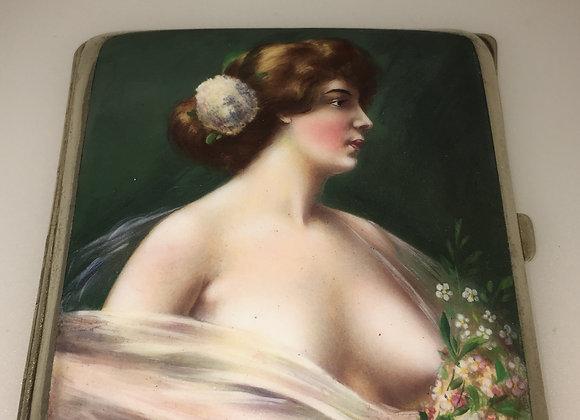 Art Nouveau Alpaca an Enamel Cigarette Case