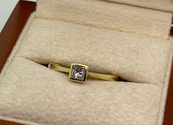 0.40ct Solitaire Princess Cut Diamond Ring In 18K Yellow Gold