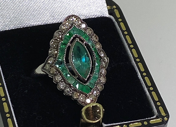 Marquise Cut Natural Emerald & Rose Cut Diamond Art-Deco Style Gold, Silver Ring