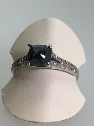 1.50ct Black Diamond Ring (reserve-set) in 9K White Gold