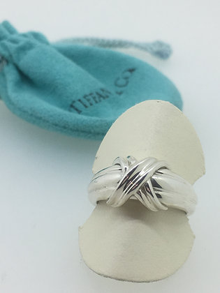 "1990 Tiffany & Co ""Signature X"" 925 Sterling Silver Ring"