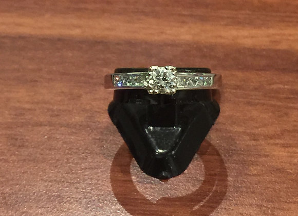 0.65ct Solitaire w Accents Diamond Ring