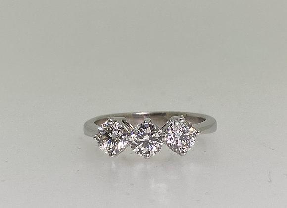 1.10ct Three-Stone Diamond Ring (G/VS) in 18K White Gold