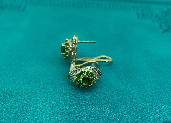 Peridot & Diamond Cluster Vintage Earrings in 9K Yellow Gold