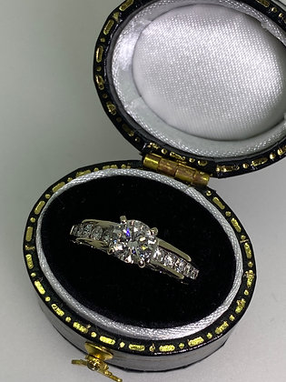 Solitaire with Accents Diamond Engagement Ring in 18K White Gold