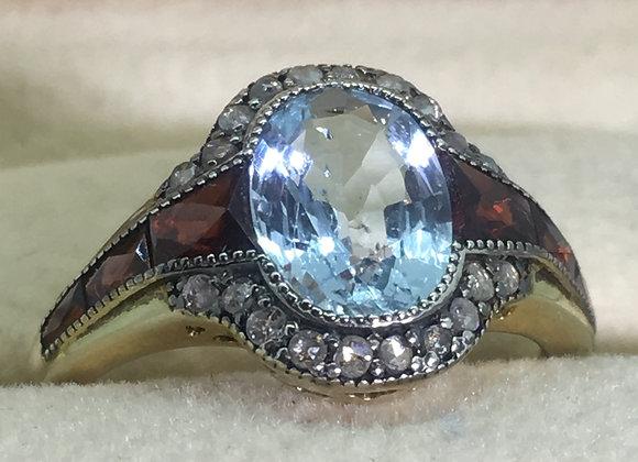 Aquamarine, Garnet & Rose Cut Diamond Gold & Silver Vintage Ring
