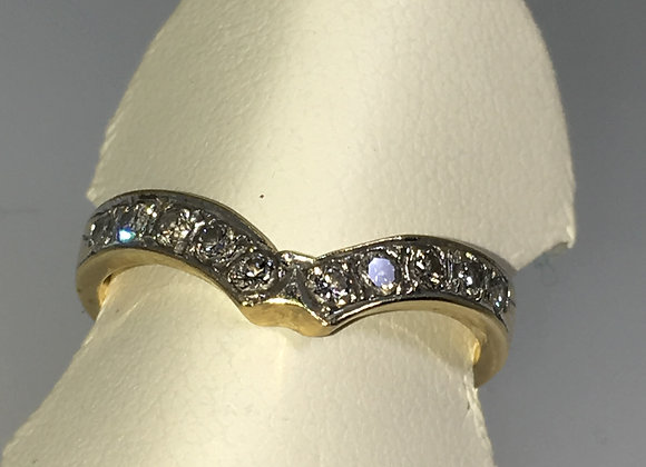 V Shaped Transitional Cut Diamond (0.40ct) Wedding Band in 18K Gold
