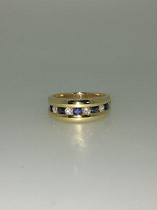 Diamond & Sapphire Half Hoop Dress Ring