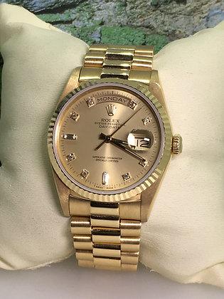 "18K Gold Rolex Oyster ""Day-Date"" ref #18000, W Series Gents' Wristwatch"