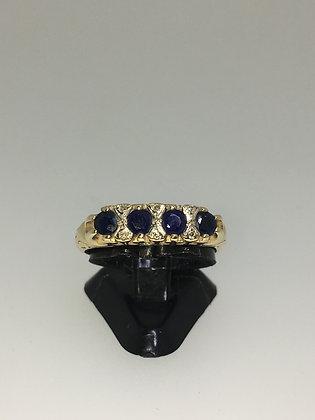Retro 9K Gold, 4-Stone Sapphire & Diamond Ring