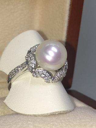 South Sea Pearl & Diamond Ladies' Dress Ring in 18K White Gold