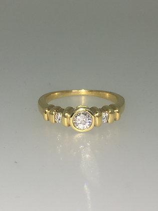 Three-Stone Diamond Ring in 18K Yellow Gold, c1980's.