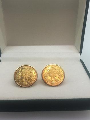 An Art-Deco 1 Ducat c1915 Gold Coin Cufflinks