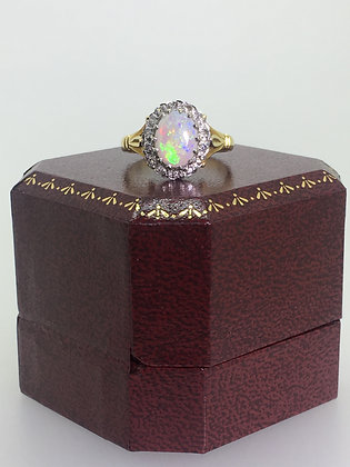 An Antique c1916 Opal & Old-Cut Diamond Ring in 18K Yellow Gold