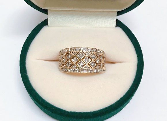 9K Yellow Gold & Diamond Vintage Cocktail Ring