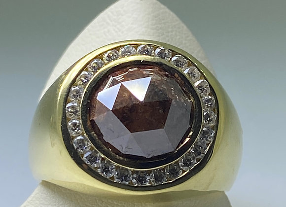 7.00ct Brown Rose Cut Diamond Mens' Ring in 18K Yellow Gold