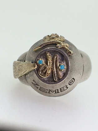 Masonic Shriner Antioch Turquoise & Diamond Gold and Sterling Silver Mens' Ring