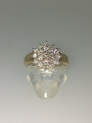 Flower Shaped Cluster Diamond Ring (0.75ct) in 9K Yellow Gold