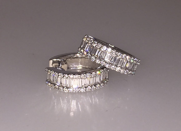 Diamond Half-Hoop Earrings in 18K White Gold