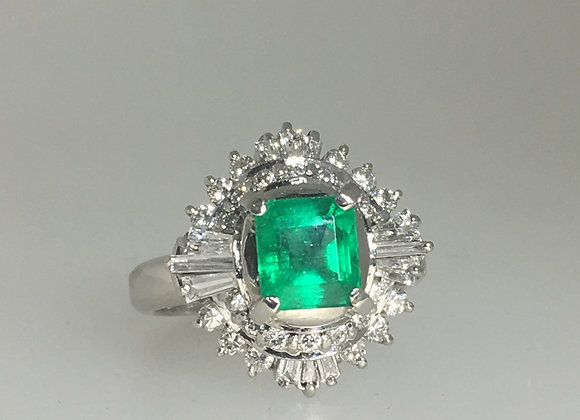 1.21ct South American Emerald & Diamond Cocktail Ring in Platinum 900