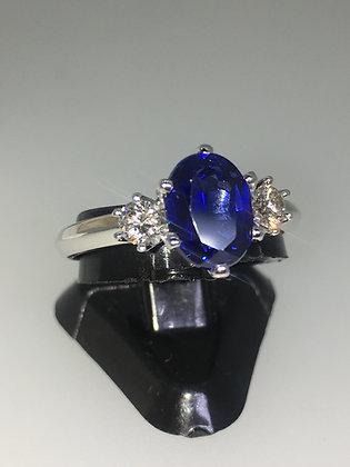 1.50ct Royal Blue Sapphire & Diamond Ring in 18K White Gold