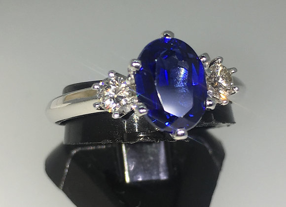 1.50ct Royal Blue Sapphire & Diamond Ring in 18K White Gold