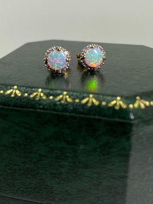 Solid Opal & Diamond Vintage Stud Earrings in 9ct Yellow Gold