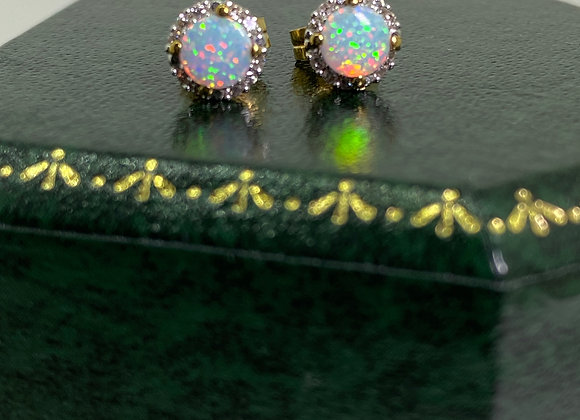 Solid Opal & Diamond Vintage Stud Earrings in 9ct Yellow Gold