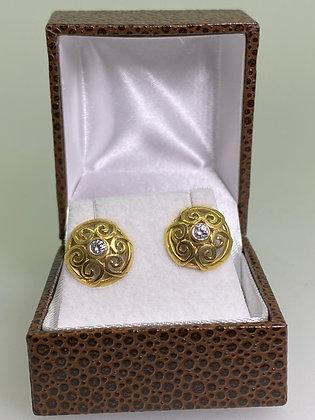 18K Yellow Gold Filigree Style 0.12ct Diamond Studs