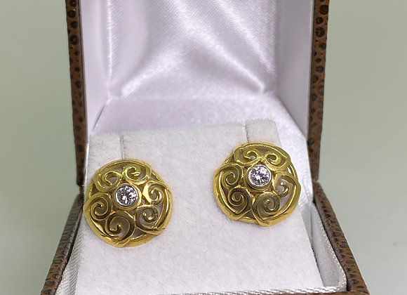 18K Yellow Gold Filigree Style 0.12ct Diamond Studs