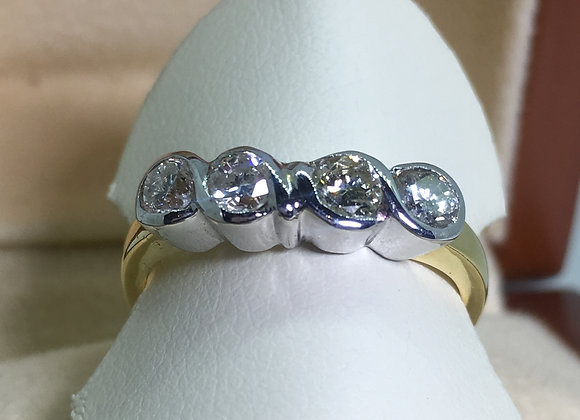 18K Two-Tone 4-stone Diamond Half Hoop Ring