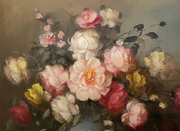 Flower Still Life Oil on Canvas Painting. Hungarian School