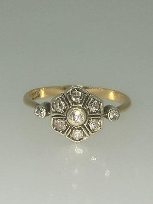 Edwardian 18K Gold, Platinum & Rose Cut Diamond Daisy Style Ring