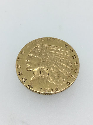 Gold American $5 Indian Head Coin, c 1909