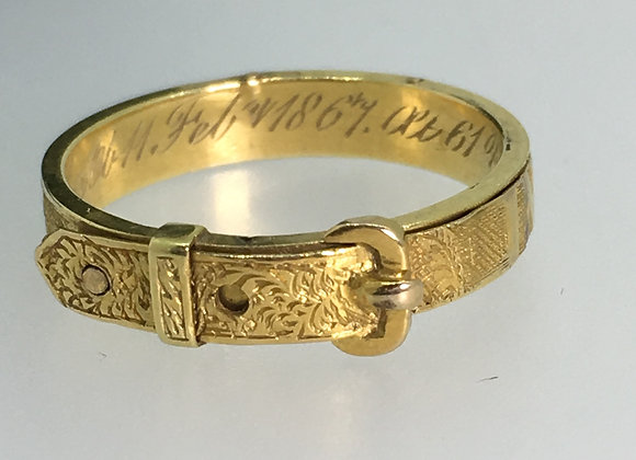Antique 18K Gold Memorial Belt Buckle Ring