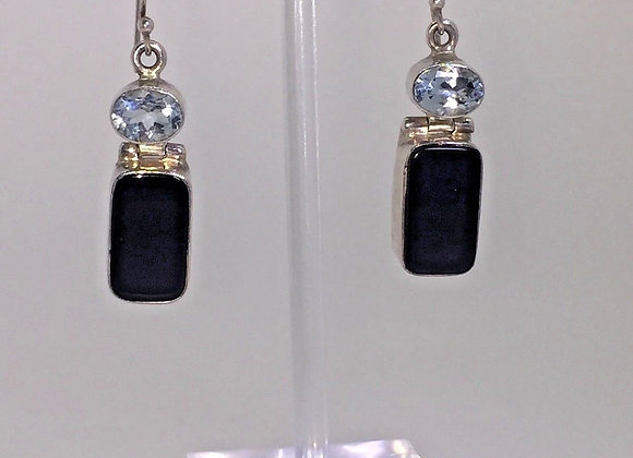 925 Sterling Silver, Black Onyx & Blue Topaz Earrings