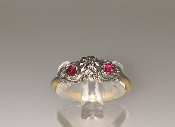 Old-European cut Diamond and Ruby ring