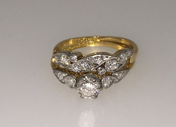 Art-Deco Diamond matching ring and band
