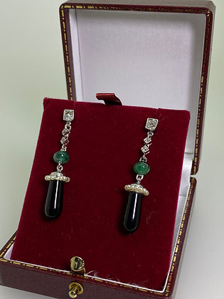 Onyx, Emerald, Seed Pearl, Diamond, Platinum Pendant Earrings by MECAN