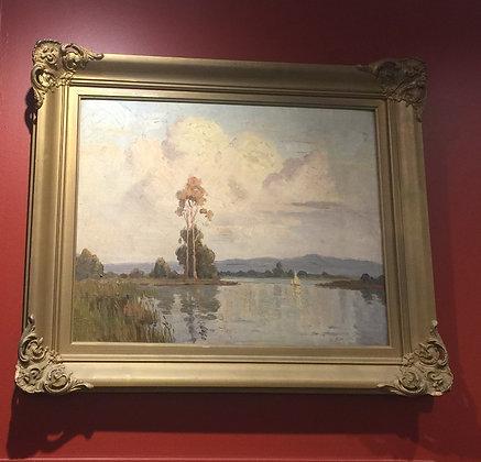 Painting River Lake by Erik Langker. Oil on board.