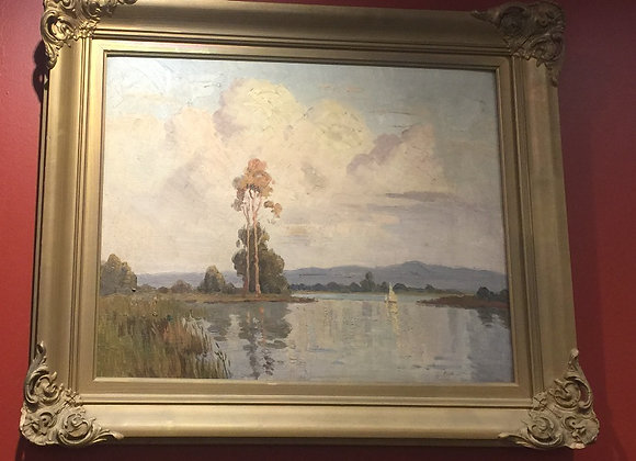 Painting River Lake by Erik Langker. Oil on board.