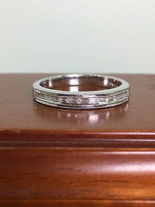 Baguette Cut Diamond Band in 18K White Gold