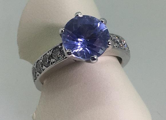 2.45ct Ceylon Sapphire & Diamond Ring in 18K White Gold