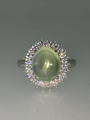 925 Sterling Silver, Cabochon Quartz & Crystal Dress Ring