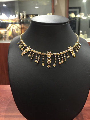 15K Gold & Seed Pearl Fringed Necklace