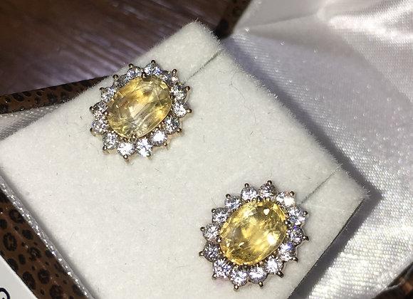 2.00ct Citrine & Diamond Cluster Earrings in 14K Gold