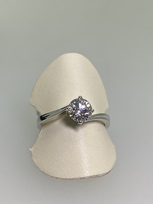 0.84ct Diamond Solitaire Engagement Ring in 18K White Gold